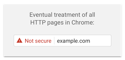 image showing not secure web address in Google Chrome